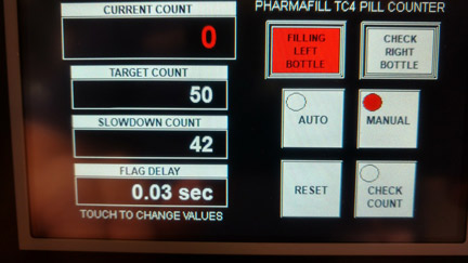 Deitz Pharmafill TC4 tabletop tablet counter HMI